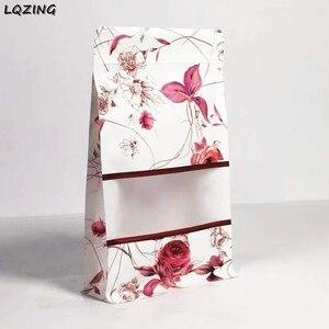 100 шт розовый узор стоьте вверх мешки белый запечатывать кофе пакет-саше ziplock мешок большой емкости розница стоя вверх конфеты сумки