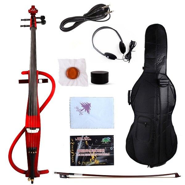 4/4 Электрический Виолончель тихий мощный звук разделенный проворный черный Высокое качество - Цвет: Красный