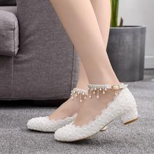 Women Pumps High Heels Round Toe Lace Party Wedding Shoes Bride White Strap Square Low Heel Sexy Lady Pumps Shoes Zapatos Mujer 2016 white womens pumps custom made plus size wedding shoes high heel pumps zapato mujer party evening shoes chaussure femme