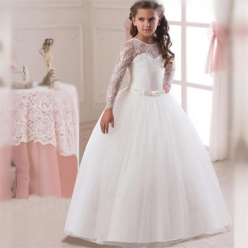 White Flower Girls Dresses For Wedding Tulle Lace Long Girl Dress Party Christmas Dress Children Princess Costume For Kids 12T 5
