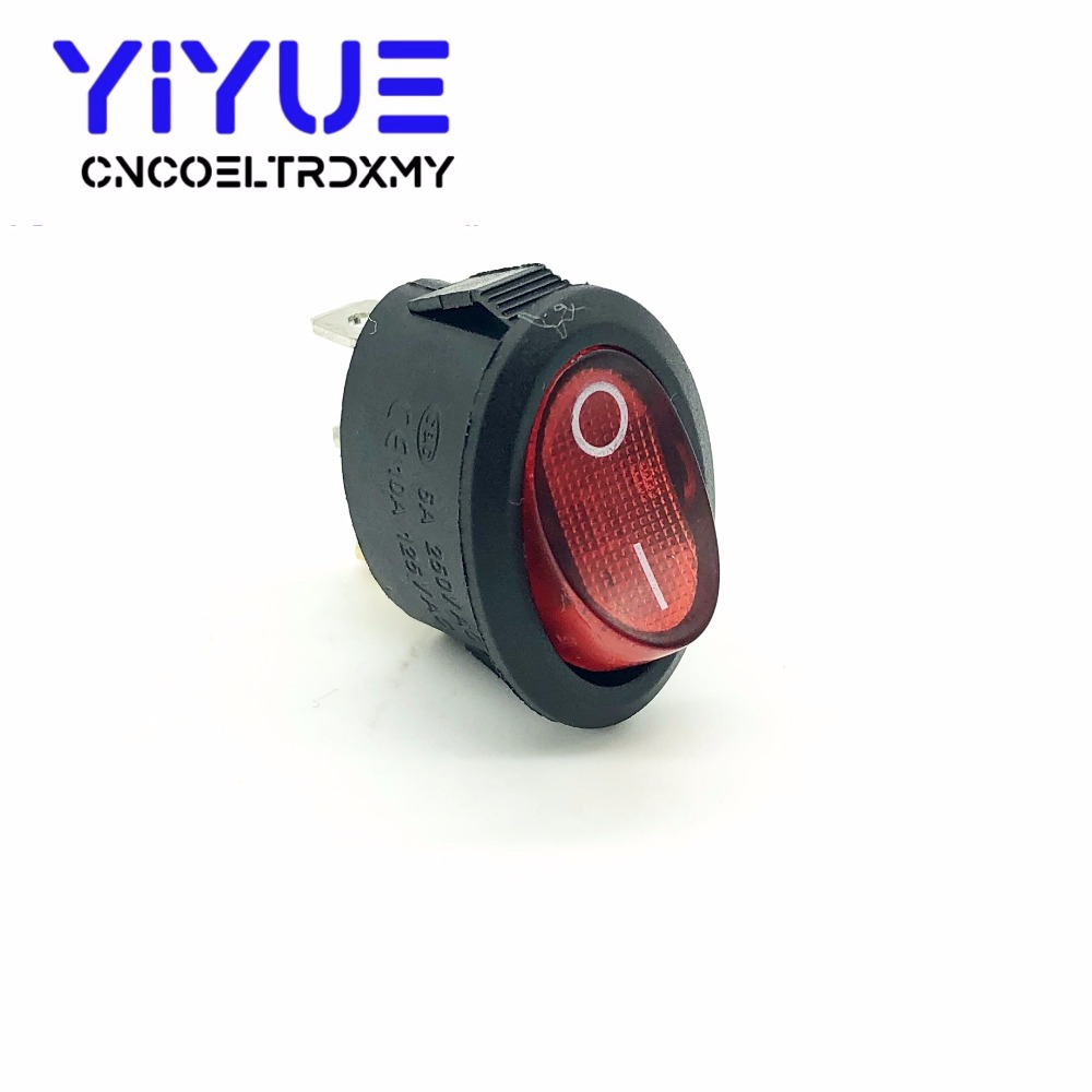 5Pcs Rocker Switch Ellipse Red With lamp KCD1 3Pin two position Seesaw Power switch  6A250VAC 10A125VAC (4)