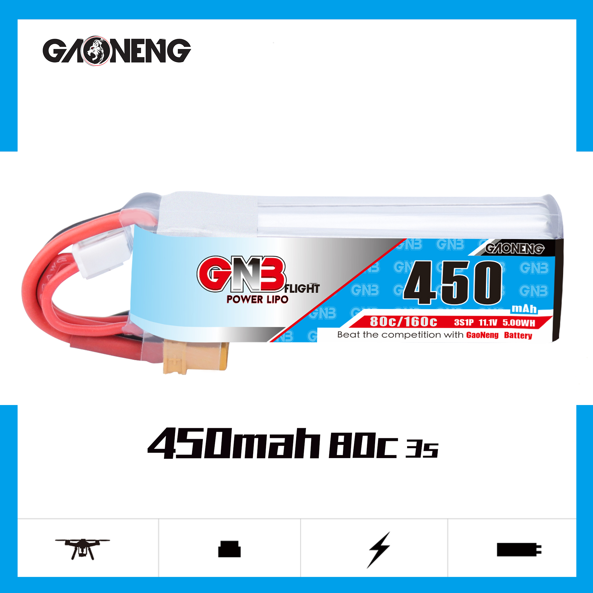 Gaoneng GNB 2S 3S 11.1V 4S 14.8V 450MAH 80C Lipo Battery XT30 Plug for RC CineBee Cine Whoop BetaFPV Quadcopter Toothpick Drone image