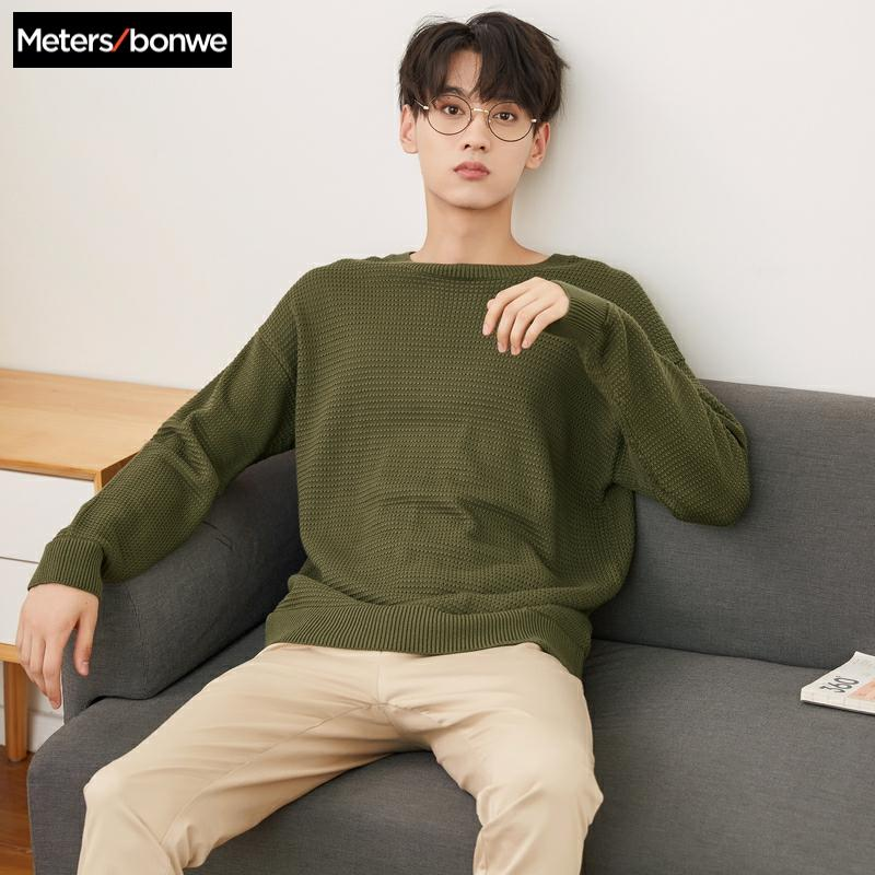 Metersbonwe Brand Knitted Sweater Men 2019 Spring Autumn Fashion Long Sleeve Knitted Men Cotton Sweater High Quality Clothes