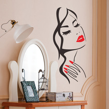 Red Nails Wall Stickers For Bedroom Girls DIY Home Decor Sexy Woman Manicure Salon Decals Vinyl  On The LW257