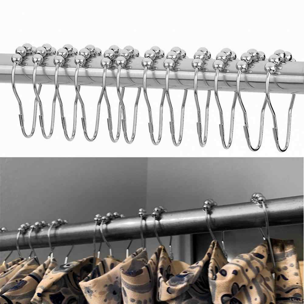 12pcs/pack Roller Ball Shower Curtain Rings Hooks Rust-Resistant Curtain Bathroom Accessories Polished Satin Nickel iron Hook 10