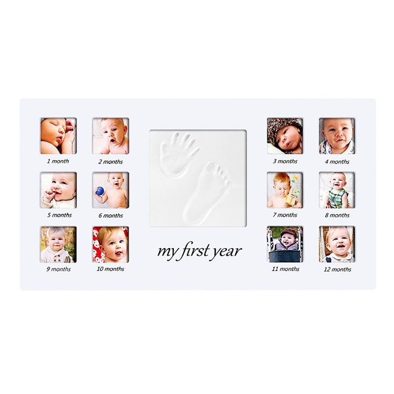 Newborn Hand And Foot Prints Print Mud Photo Frame One Year Old Baby Infants Photos DIY Gifts Commemorative Photography Table