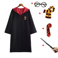 Potter Costume Cosplay Gryffindor Ravenclaw Hufflepuff Slytherin Robe Cloak Tie Scarf Wand Halloween Cosplay(China)