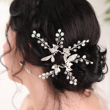 Hair-Pins Headpieces Decoration Wedding-Accessories Rhinestones-Leaves Bride-To-Be Crystal