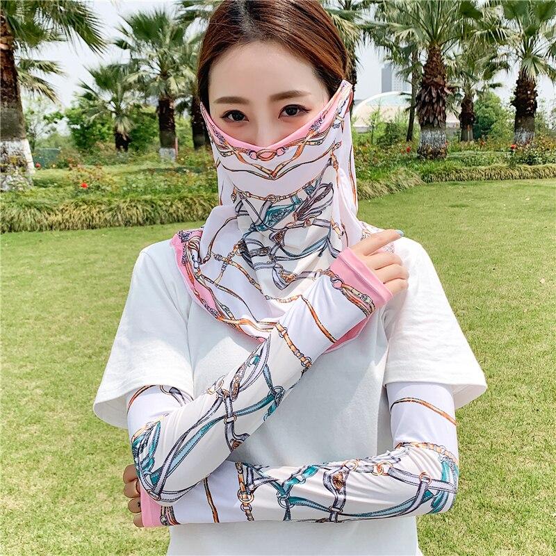 2020 New Women Set Face Scarf Sunscreen Ring Neck Scarves Arm Sleeves Wraps Summer Fashion Print Neckerchief Bandana