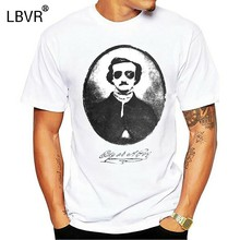 Edgar Allan Poe With Sunglasses Funny T-Shirt, Premium Cotton Tee Round Neck Tee Shirt(China)
