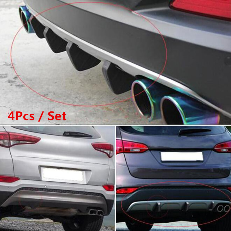 4pc Universal Car rear bumper cast shark spoiler for BMW 1 2 3 4 5 6 7 Series X1 X3 X4 X5 X6 E60 E90 F07 F09 F10 F15 F30 F35 image