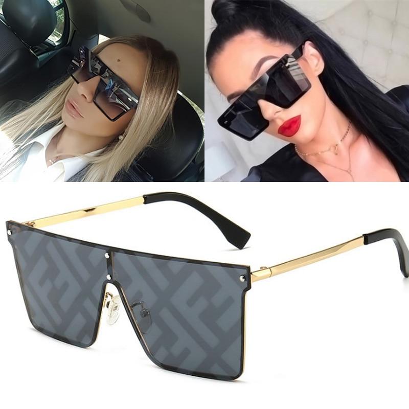 Feishini Oversized Square Sunglasses Women Luxury Brand Fashion Flat Top Black Clear Lens One Piece Men Gafas Shade Mirror UV400