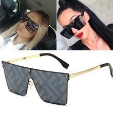 Feishini Oversized Square Sunglasses Women Luxury Brand Fashion Flat Top Black C