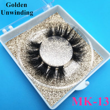Golden Unwinding MK-13 wholesale 3d short mink eyelashes natural style false eyelashes mink5d eyelash packaging box vendor