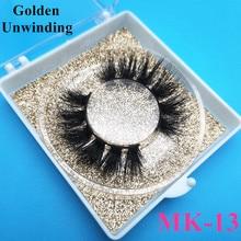 Golden Unwinding MK-13 wholesale 3d short mink eyelashes natural style false eyelashes mink5d eyelash packaging box vendor