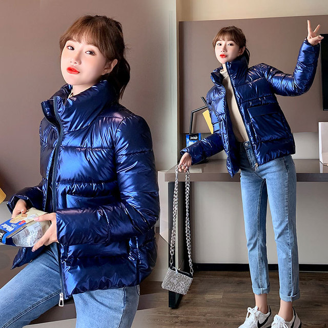 2021 Autumn Winter Women Parkas Jackets Casual Stand Collar Shiny fabric Thick Warm padded Coats Female Winter Outwear Jackets 3