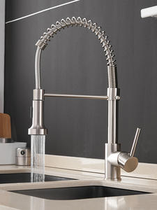 Faucets-Brush Tap Mixers Kitchen-Sink Single-Lever-Pull-Out-Spring Cold-Water-Crane Hot