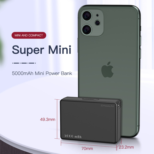 KUULAA Mini Power Bank 5000mAh Portable Charging PowerBank 5000 mAh USB PoverBank External Battery Charger For Xiaomi Mi 9 8