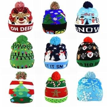 Gorros navideños Beanie Sweater, gorro de Punto ligero LED, decoraciones navideñas, sombrero de alce, gorro de punto con luz, regalo para niños 2021