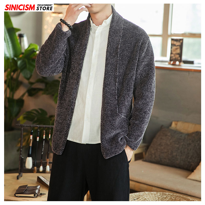 Sinicism Store Men 2019 Autumn Winter Knitted Sweater Mens Casual Chinese Style Warm Cardigan Tops Clothes Male Fashion Sweaters