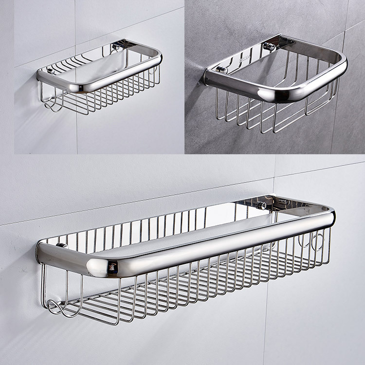 No Screw Modern 304 Stainless Steel Shower Baskets Chrome Bathroom Storage Racks Wall Toilet Paper Holder bathroom accessories image