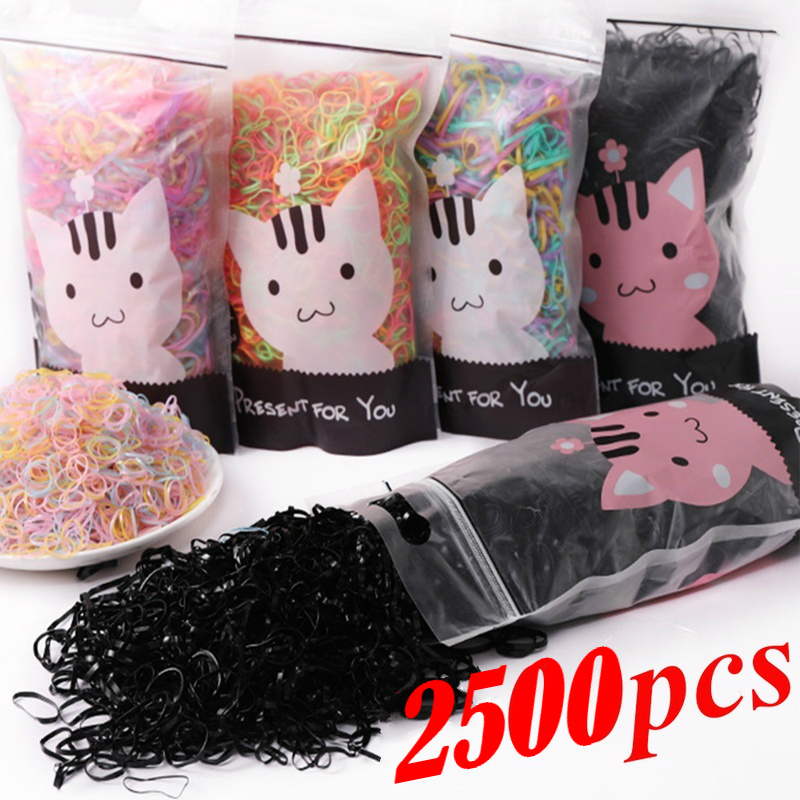 2500pcs/bag Disposable Elastic Hair Bands Hair Ring for Girls Head Rope Ponytail Holder Rubber Band Scrunchies Kids Accessories