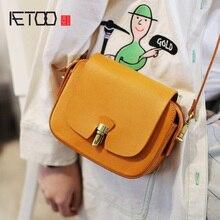 AETOO Vintage small square bag, handmade cowhide girl high-sense trend summer leather slant bag