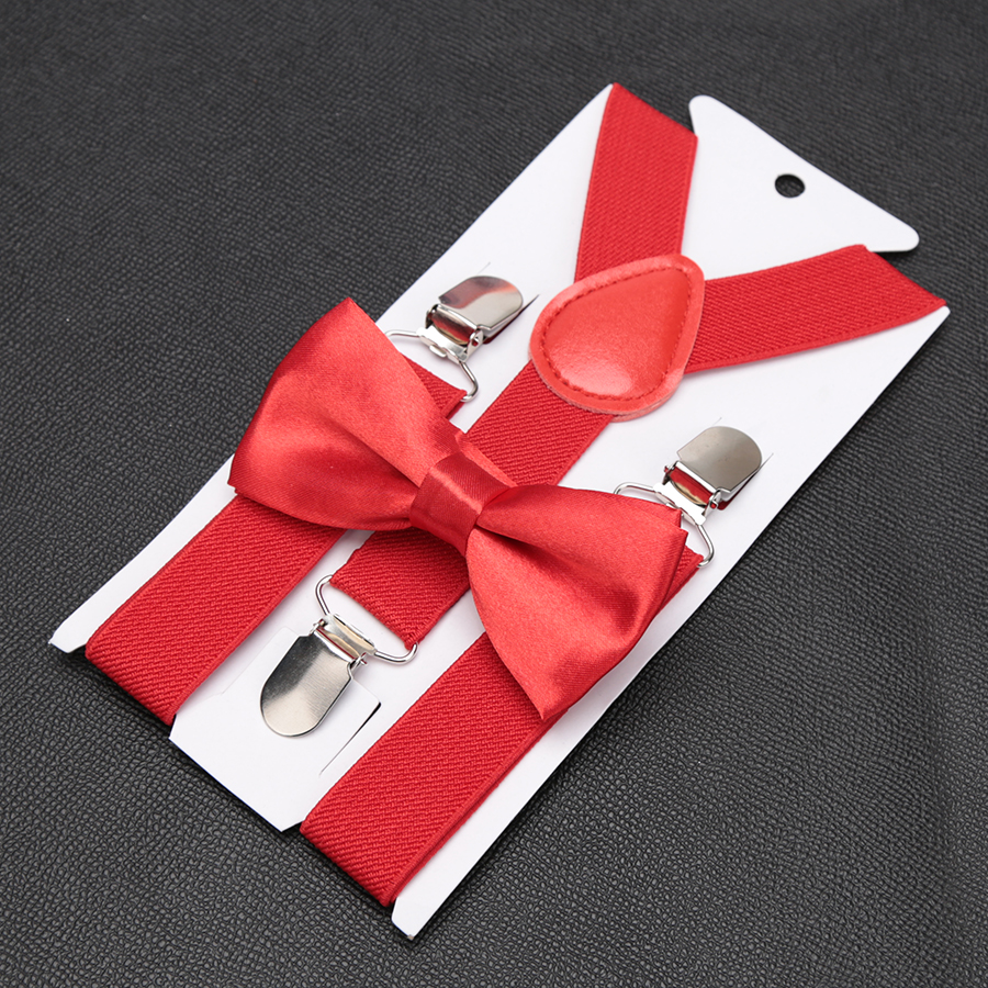Kids Retro Suspenders Bow Tie Set Boy Girl Adjustable Suspenders Children Baby Braces Clip-on Trousers Wedding Ties Accessories