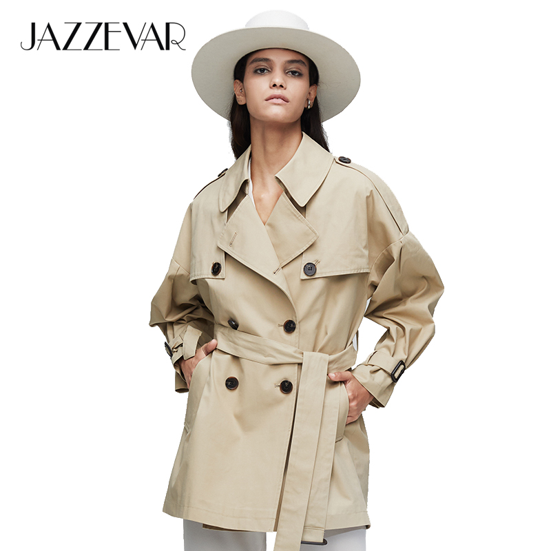 JAZZEVAR2019 New Arrival Autumn Top Purple Trench Coat Women Waterproof Cotton Double Breasted Short Fashion Women Clothes9010-1