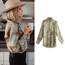 Женские рубашки Snican с леопардовым принтом, атласная деловая женская блузка с длинным рукавом, винтажные женские рубашки, зима 2021