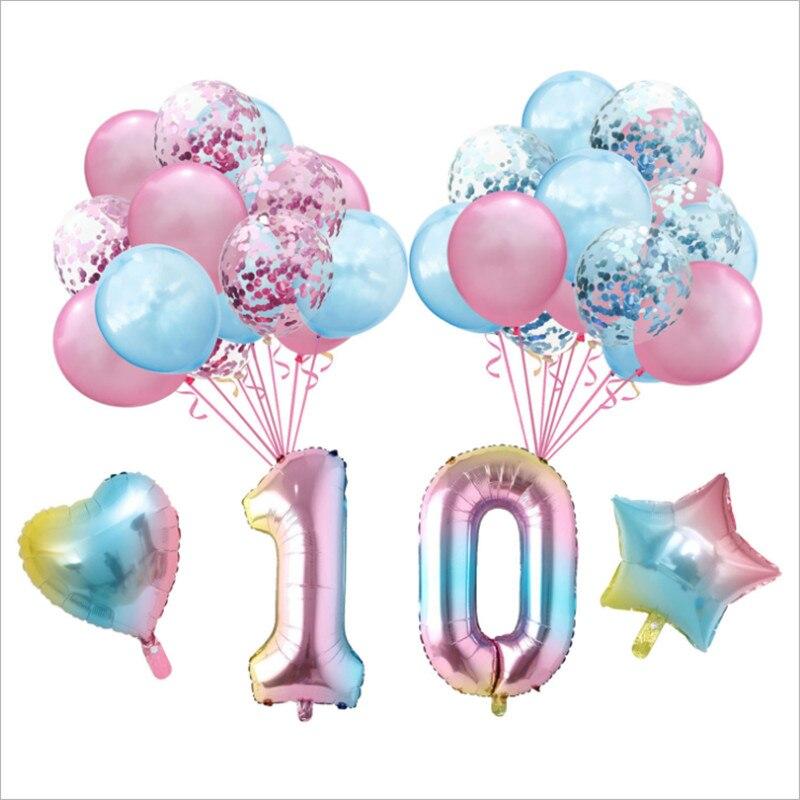 34 pièces 16 pouces dégradé anniversaire feuille daluminium ballon ensemble 70 80 90 ans fête joyeux anniversaire ballon