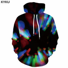 KYKU Brand Psychedelic Hoodie Men Colorful Hoodie Print Harajuku Sweatshirt Printed Black Hoody Anime 3d Printed Unisex Hip Hop(China)