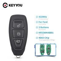 KEYYOU 434/433MHz 4D83 チップ KR55WK48801 3 ボタン車のキーリモコンフォードフォーカス C- 最大モンデオ久我フィエスタ B-Max