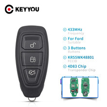 KEYYOU-mando a distancia con 3 botones para coche, Control remoto de 434/433MHz, Chip 4D83, KR55WK48801, para Ford Focus c-max, Mondeo, Kuga, Fiesta, b-max