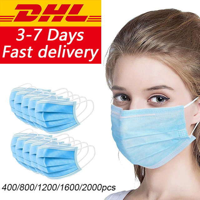 Free DHL/UPS/Aramex 400/800/1200/2000pcs Disposable Face Mouth Masks Safety Protective Face Mouth Mask Disposable Protection