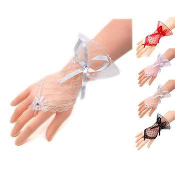Wedding Gloves Fingerless Bowknot Crystal Lace Gloves Sexy Lace Wrist Fingerless Driving Gloves for Women stylish lace embellished bowknot t back for women