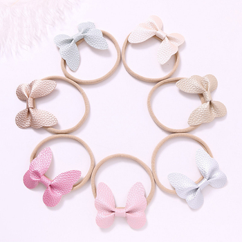 Baby Girls Haidband Solid Color PU Bow Knot Head Bandage Kids Toddlers Headwear Hair Band Infant Clothing Accessories 5pcs head wrap baby headbands headwear girls bow knot hairband head band infant newborn toddlers gift tiara hair accessories