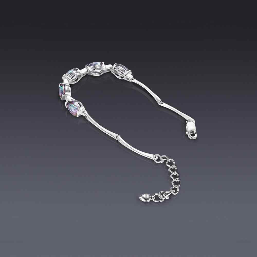 JewelryPalace NATURAL Mystic Topaz 925 เงินสเตอร์ลิงสร้อยข้อมือเทนนิสอัญมณีสร้อยข้อมือผู้หญิงเงิน 925 ทำ
