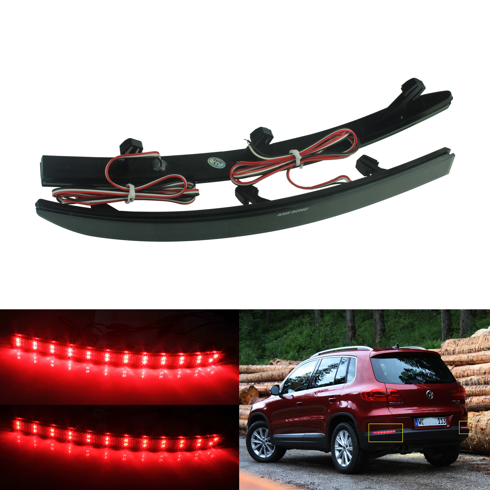 UPSM Rear Bumper Red Reflector Light Left Side Fit for VW Tiguan 2008-2015 5N0945105