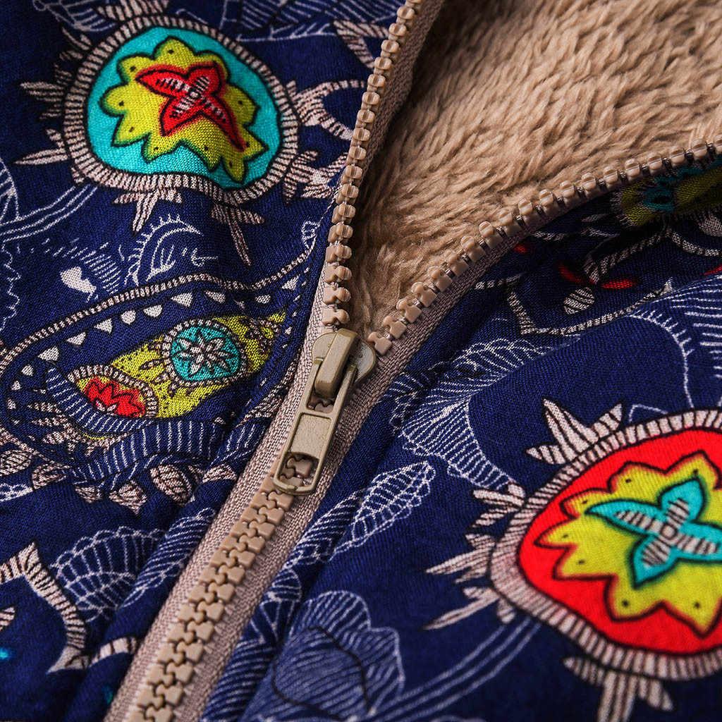Plus Ukuran Vintage Cetak Jaket Jaket Jaket Kasual Jaket Zipper Etnis Berkerudung Fleece Lengan Panjang Mantel Musim Dingin Musim Gugur