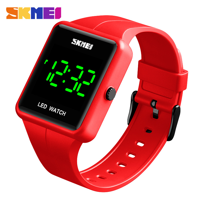 SKMEI Men Women Digital Watch Outdoor Sport LED Light Big Figure Display 3Bar Waterproof Colorful PU Strap Relogio Masculino
