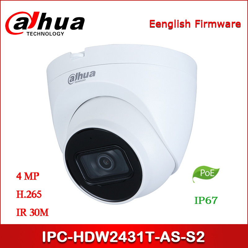 Dahua IP camera IPC-HDW2431T-AS-S2 4MP WDR IR Eyeball Network Camera support POE Upgraded version of IPC-HDW1431S image