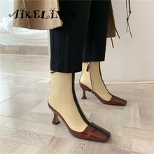 AIKELINYU Fashion Luxury Boots Women Designers Strange High Heels Short Mixed Colors Square Head Autumn Shoes Woman