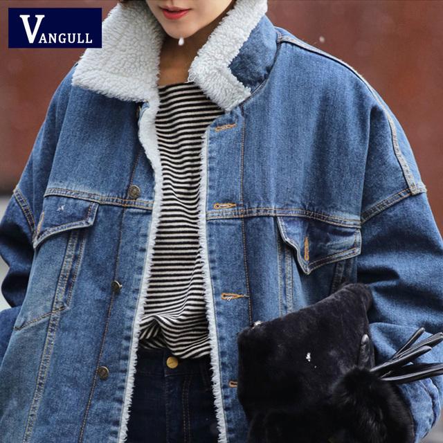 Vangull Fur Warm Winter Denim Jacket Women 2019 New Fashion Autumn Wool Lining Jeans Coat Women Bomber Jackets Casaco Feminino