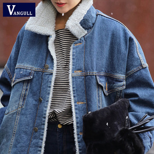 Image 4 - Vangull Fur Warm Winter Denim Jas Vrouwen 2019 Nieuwe Mode Herfst Wollen Voering Jeans Jas Vrouwen Bomber Jassen Casaco Feminino