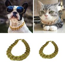 Fashion Pet Dog Collar Neck Ring Gold Chain Tone Cut Pets Cuban Curb Necklace(China)