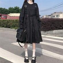 Japanese Harajuku Women Black Midi Gothic Dress Punk Style Suspenders Bandage Dress Vintage Ruffles Long Baggy Cosplay Costume