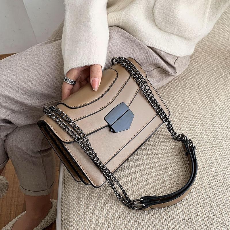 Small Chain Splice Pu Leather Crossbody Bags For Women 2020 Shoulder Messenger Bag Female Fashion Handbags