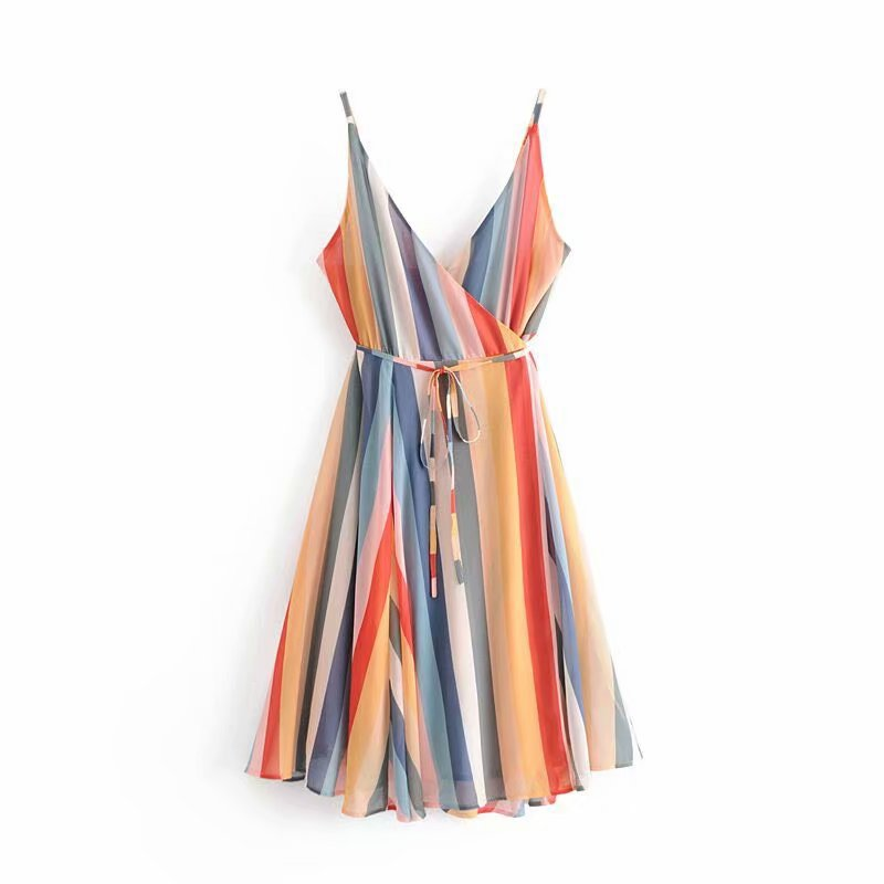 2019 Spring Europe And America WOMEN'S Dress Solid Bandage Cloth Rainbow Holiday Wrap-Strapped Dress Strapped Dress 6750