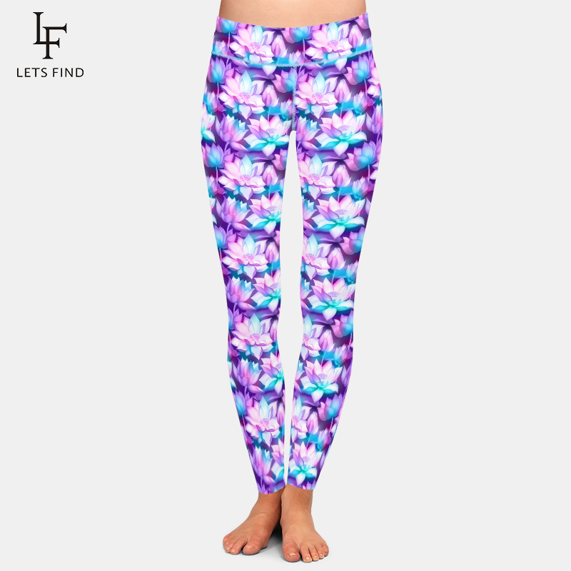 LETSFIND Beautiful Lotus Flower Printing Leggings Fashion High Waist High Quaility Women Plus Size Women Fitness Leggings